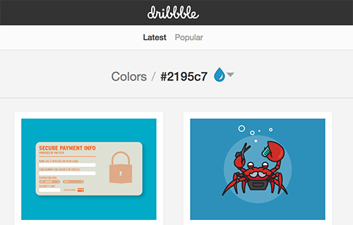View designs on Dribbble by hex code