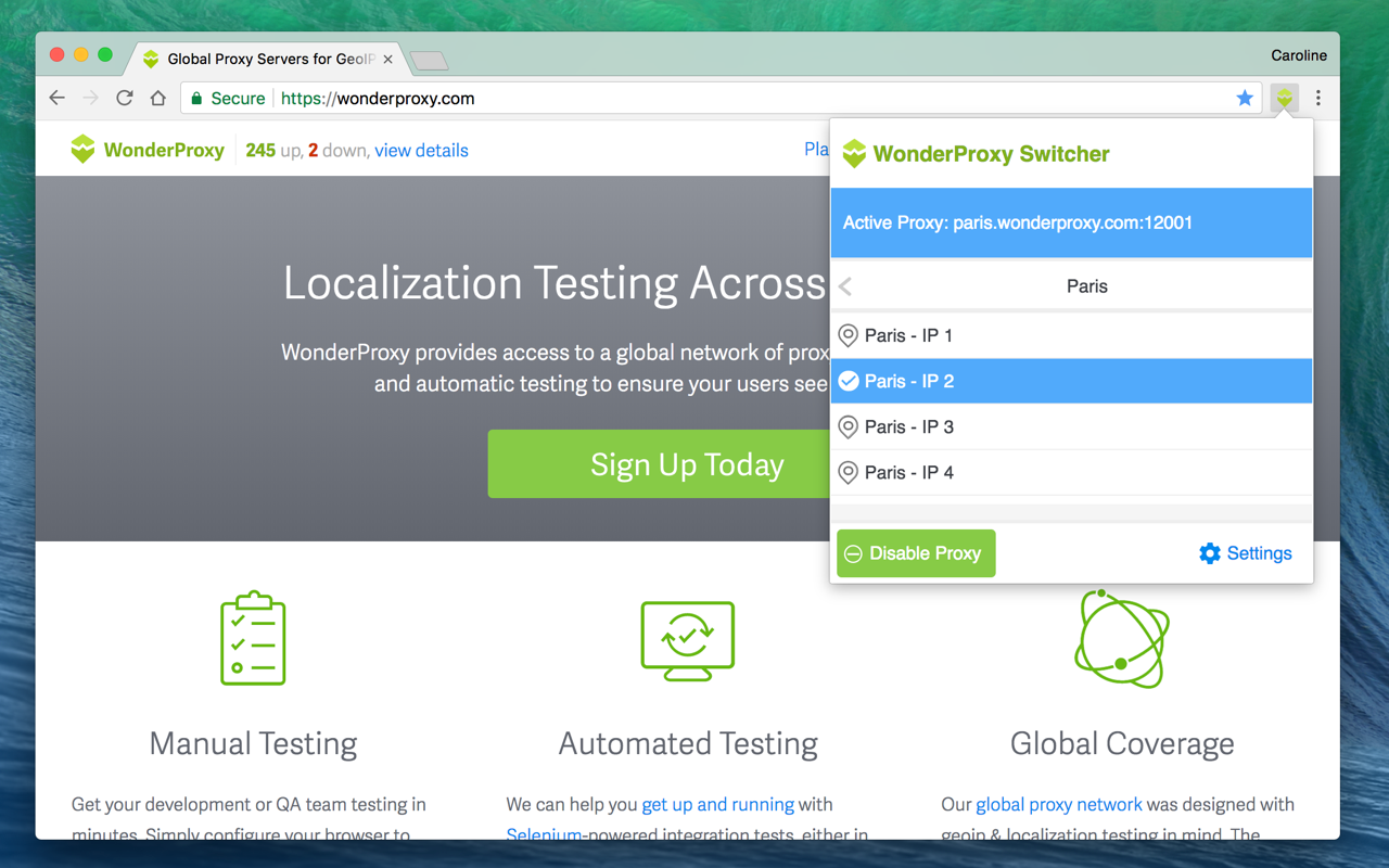 WonderProxy Switcher Screenshot