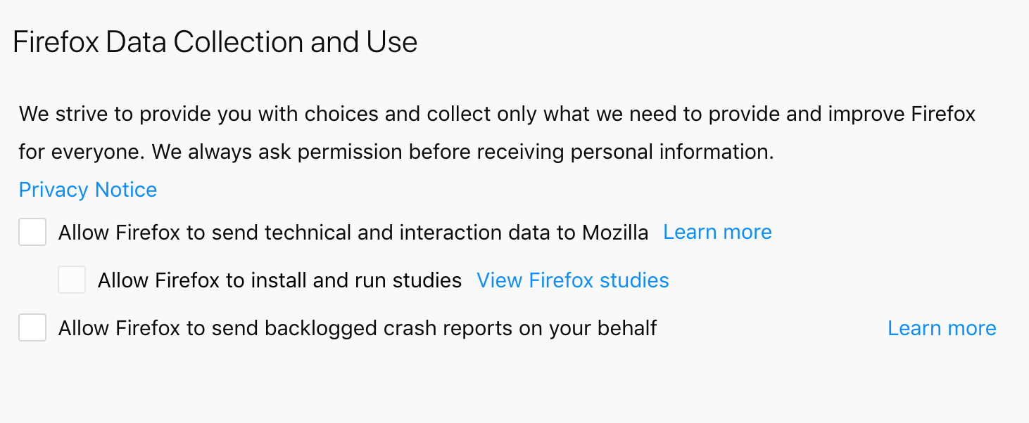 Firefox asking permission to send technical and interaction data to Mozilla