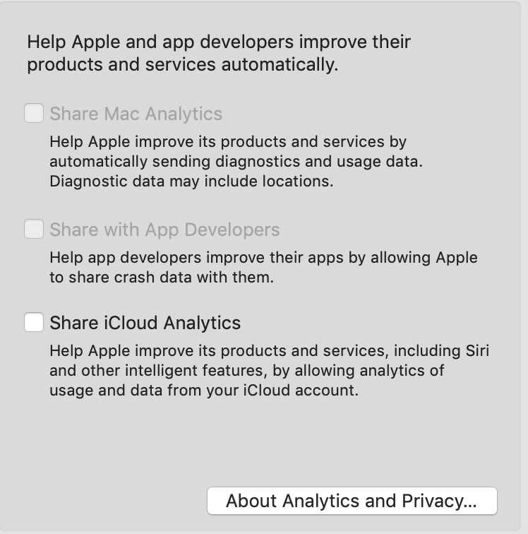 Apple asking permission to send analytics data to Apple or App Developers data