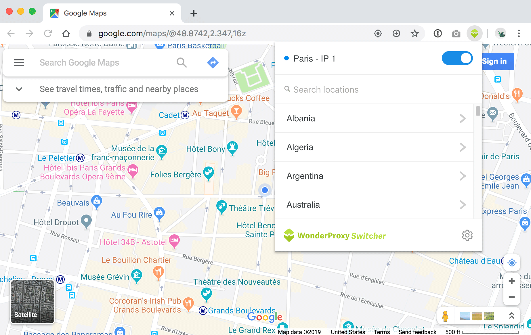 Testing Google Maps with Switcher extension using Paris proxy server