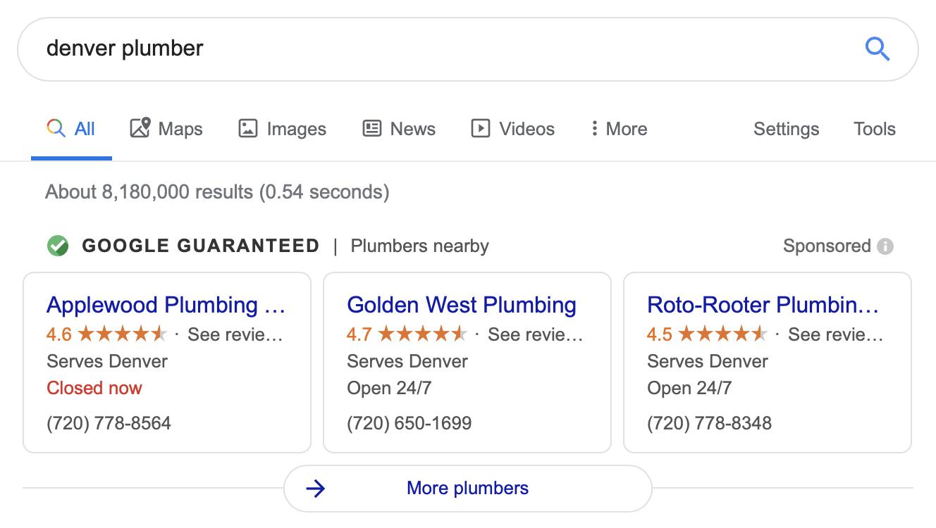 Google ads for plumbers in Denver