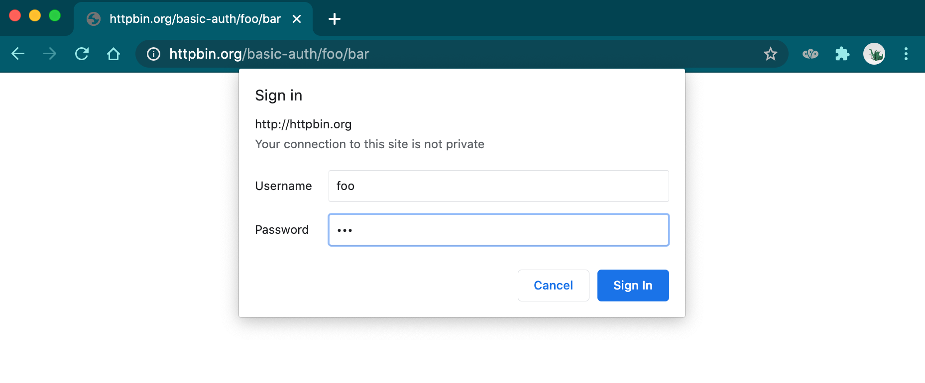 Browser prompt asking for a username and password