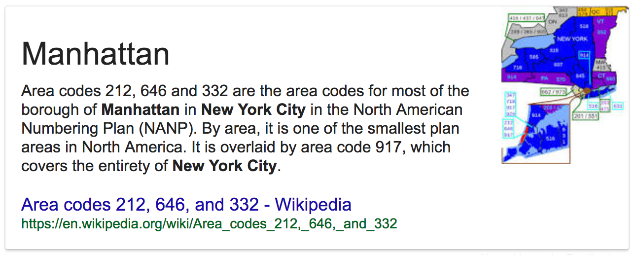 Area codes for New York: 212, 646 & 332