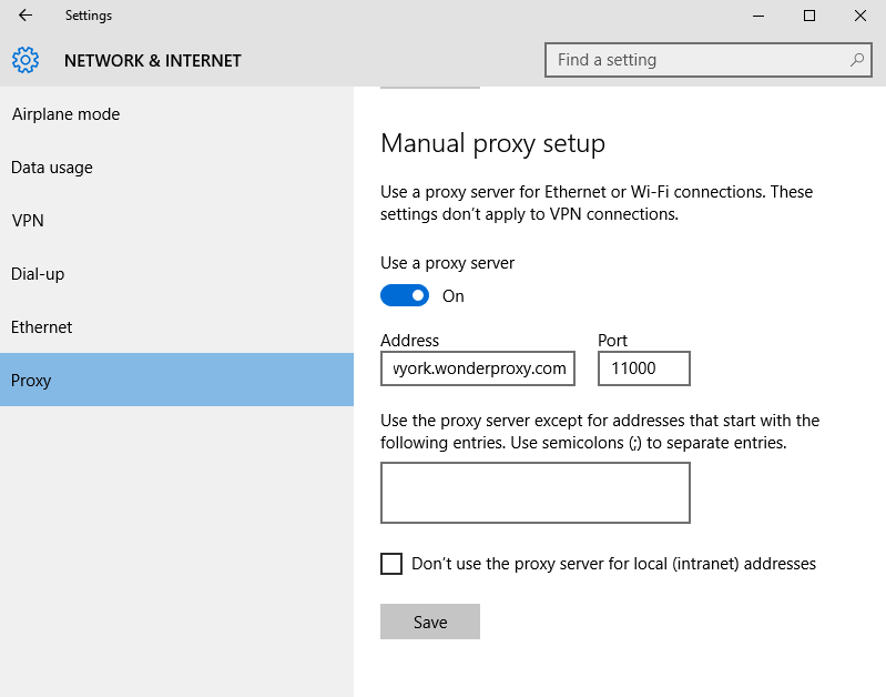 Preview of Microsoft Windows 10 LAN settings window