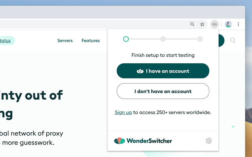 Preview of WonderSwitcher browser extension